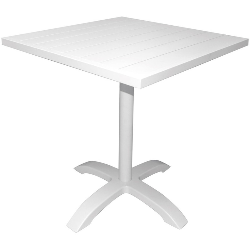 Pegane - Table de bar coloris blanc en aluminium revêtu epoxy - Dim : 70 x 70 x 75 (h) cm