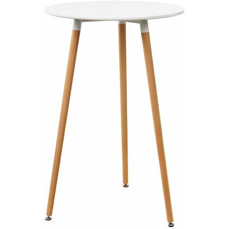 Table de bar comptoir de bar ronde en design rétro MDF 70 cm blanc - Blanc