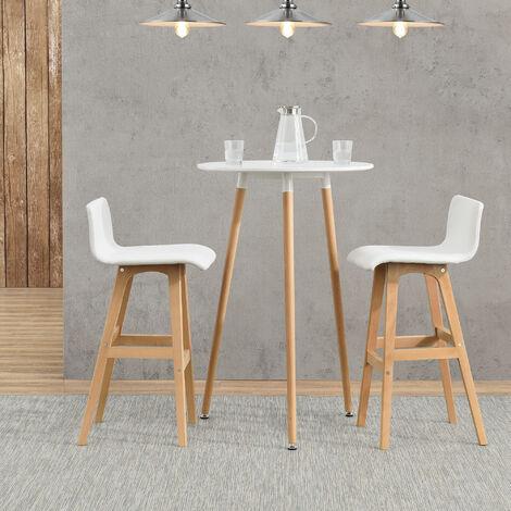 Table de Bar Comptoir de Bar Ronde en Design Rétro MDF Mat Laqué Blanc 70 x 107cm