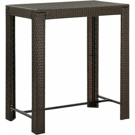 "main image of ""Table de bar de jardin Marron 100x60,5x110,5 cm Résine tressée"""
