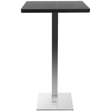 Table De Bar Design Carre Noire Pied Central Jory
