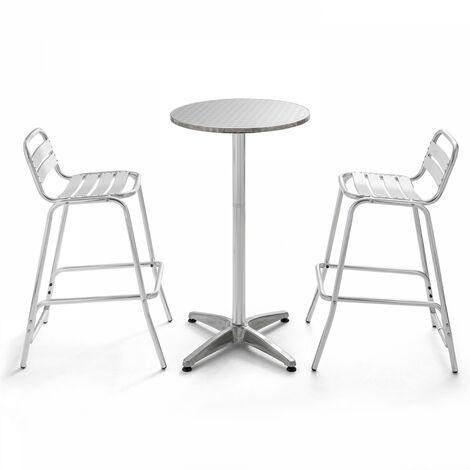 Table de bar en aluminium et 2 tabourets Soho - Gris