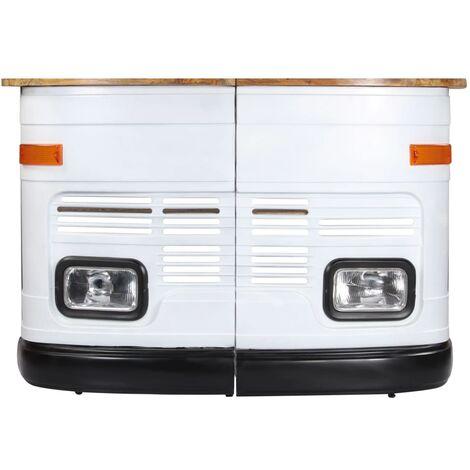 Table De Bar Forme De Camion Bois De Manguier Massif Blanc