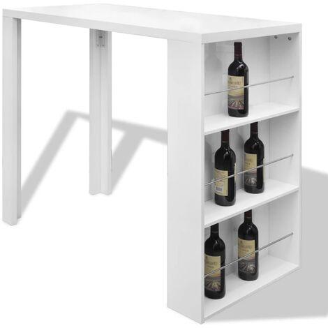 Table de bar MDF avec casier à bouteilles Blanc haut brillance