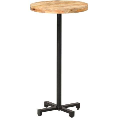 Table de bar Ronde Ø60x110 cm Bois de manguier brut