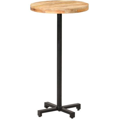 Table de bar Ronde ?60x110 cm Bois de manguier brut