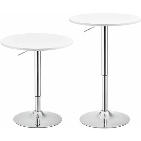 Table de bar ronde bistrot à hauteur réglable MDF diamètre 60 cm blanc - Blanc