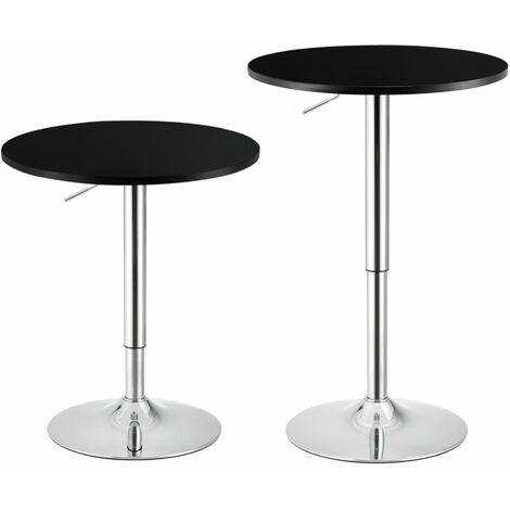 Table de bar ronde bistrot à hauteur réglable MDF diamètre 60 cm noir - Noir