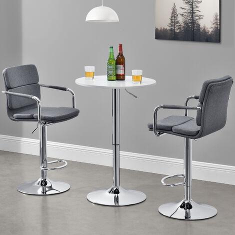Table de Bar Ronde Bistrot Design Robuste à Hauteur Réglable MDF Chrome Diamètre 60 cm Blanc