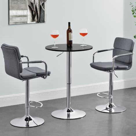 Table de Bar Ronde Bistrot Design Robuste à Hauteur Réglable MDF Chrome Diamètre 60 cm Noir