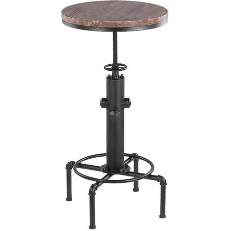 Table de bar ronde en forme de tuyau de vent industriel en metal + pin petite table a manger