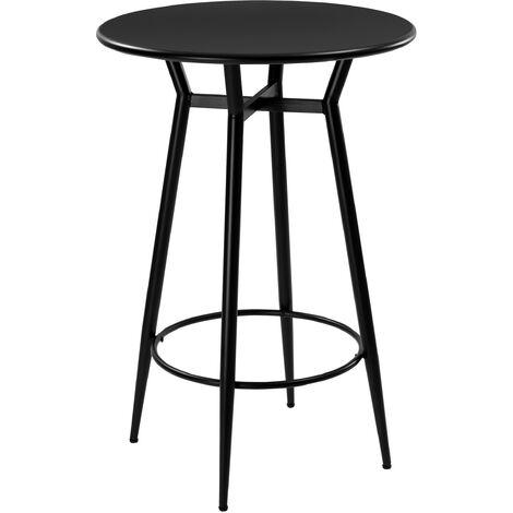 Table de bar ronde Homer en métal noir - Noir