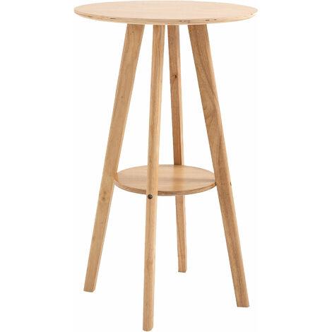 Table de bar ronde style naturel chic - étagère intégré - Ø60 x 100 cm - bois massif eucalyptus contreplaqué
