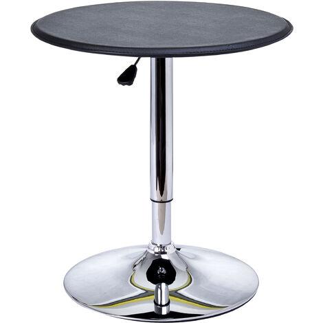Table de bar table bistro chic style contemporain table ronde hauteur réglable 67-93 cm Ø 63 cm métal chromé PVC noir - Noir