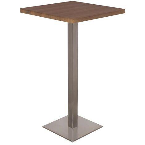 Table de bar - Table Bistrot en MDF aspect bois de noyer 60x60x105