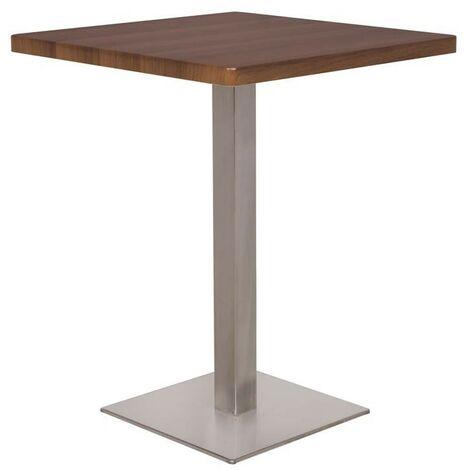 Table de bar - Table Bistrot en MDF aspect bois de noyer 60x60x75