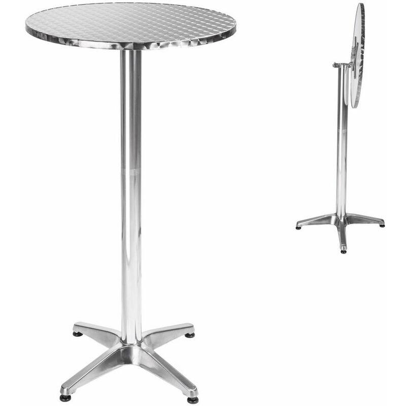 Table Mange Debout en Aluminium pliable Ø 60 cm - Hauteur réglable 74 cm ou 114 cm