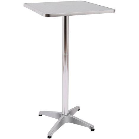 Table de bar table de cuisine salle à manger hauteur réglable plateau inox - Noir