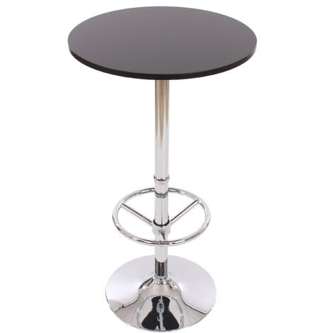 Table de bar / table haute Bari, ronde, avec repose-pied, 109x60x60cm, noir
