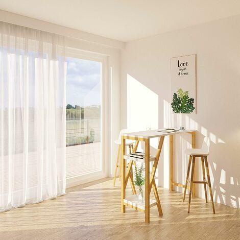 Table de Bar Table Haute de Bar Mange-Debout Cuisine avec 2 étagères de Rangement Pied en Forme K –Blanc,SoBuy®FWT56-W