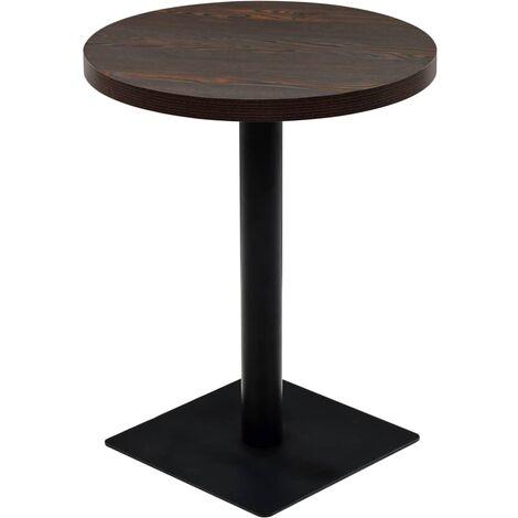 Table de bistro MDF et acier Rond 60 x 75 cm Frêne foncé