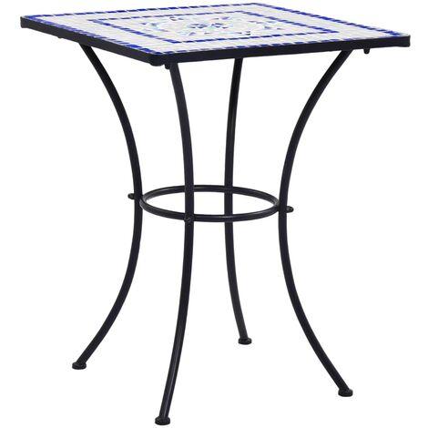 Table de bistro mosaique Bleu et blanc 60 cm Ceramique