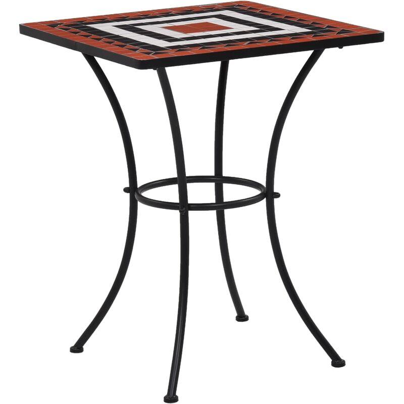 Youthup - Table de bistro mosaïque Terre cuite et blanc 60 cm Céramique
