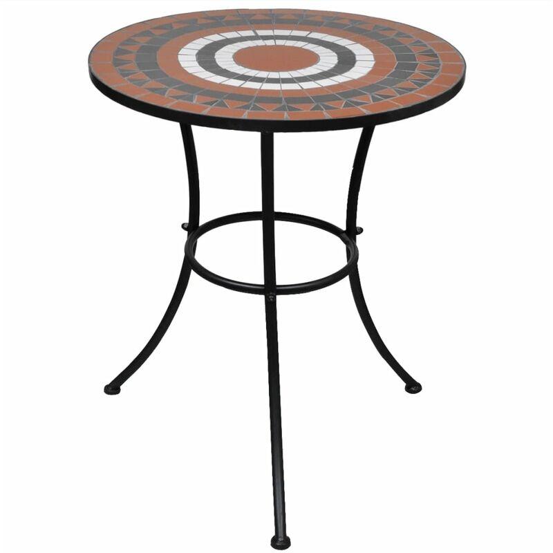 Youthup - Table de bistro Terre cuite et blanc 60 cm Mosaïque
