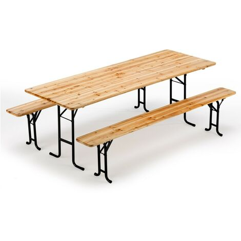 Table de brasserie bancs en bois jardin pliant festival ...