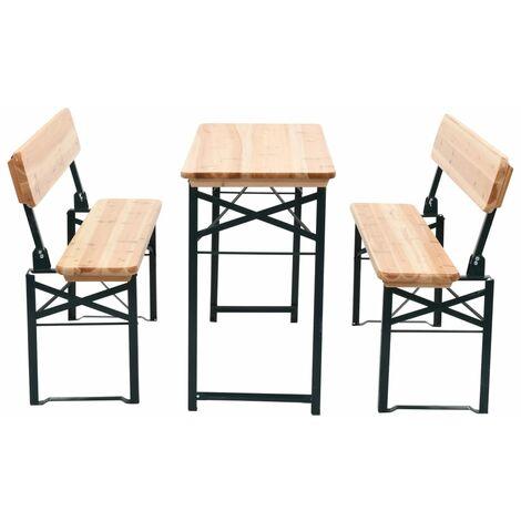 Table de brasserie pliable avec 2 bancs 118 cm Bois de sapin