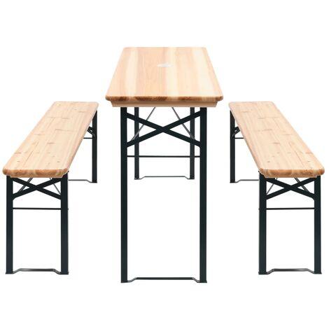 Table de brasserie pliable avec 2 bancs 177 cm Bois de pin