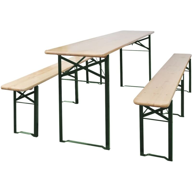 Youthup - Table de brasserie pliable avec 2 bancs 220 cm Bois de sapin