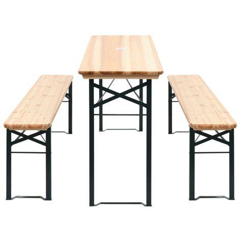 Table de brasserie Table de jaridin pliable avec 2 bancs 177 cm Bois de pin