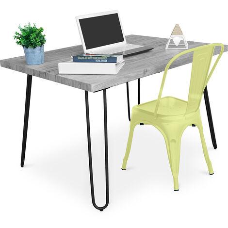 Table de bureau Hairpin Gris 120x90 + Chaise Tolix Noir