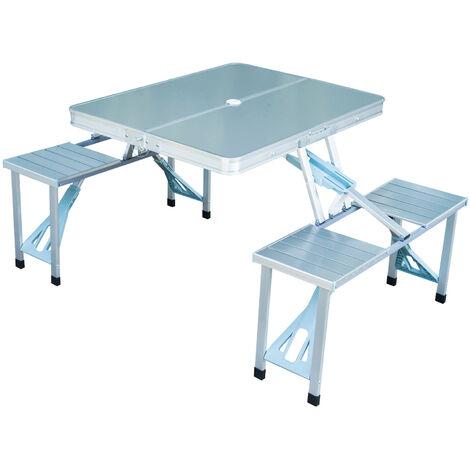 Table de camping pique-nique pliante aluminium 4 places en valise -