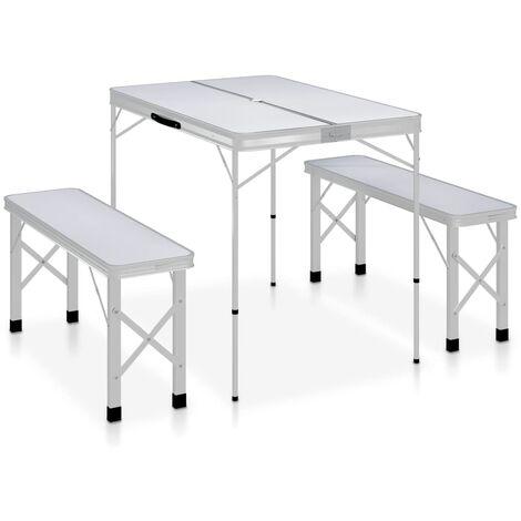 Table de camping pliable avec 2 bancs Aluminium Blanc