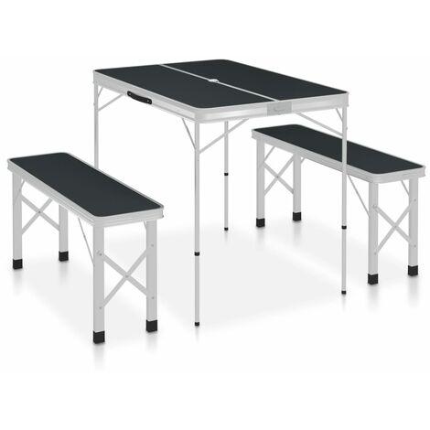Table de camping pliable avec 2 bancs Aluminium Gris