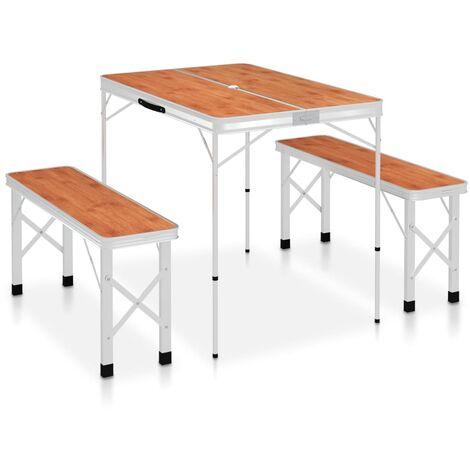 Table de camping pliable avec 2 bancs Aluminium Marron