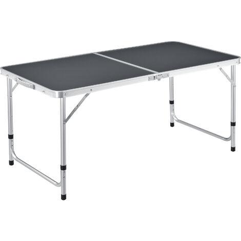 Table de Camping Pliable en Aluminium et MDF avec Hauteur Réglable Table de Jardin Couleur Gris Foncé