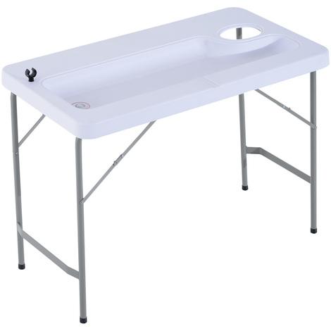 Table de camping pliable support vaisselle bouchon évacuation eau et espace ordure 115 x 58 x 86 cm acier HDPE blanc gris