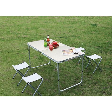 Table de Camping Réglage Hauteur 4 Assises Aluminium Plein air Pliable Randonnée 120*60*55-70cm