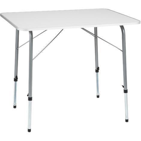 Table de Camping, Table de Pique Nique, Table de Jardin Ajustable en Hauteur - Pliante 80 cm x 60 cm x 68 cm Blanc