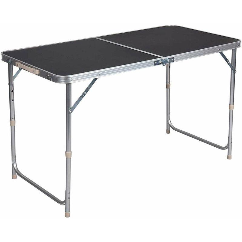 Helloshop26 - Table de camping table pliante réglable 120 cm noir - Noir