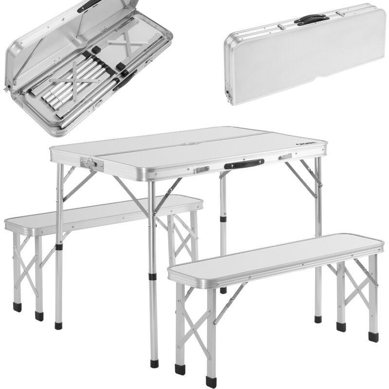 Table de camping XXL 2 bancs fonction valise ensemble table bancs camping choix Blanc