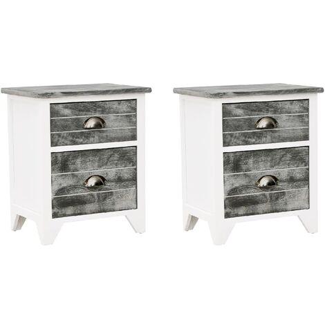 Table de chevet 2 pcs avec 2 tiroirs Gris et blanc