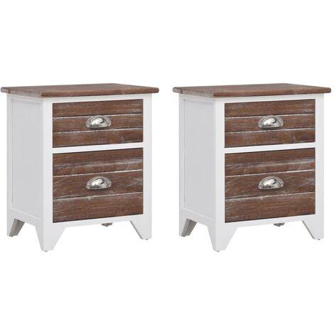 Table de chevet 2 pcs avec 2 tiroirs Marron et blanc