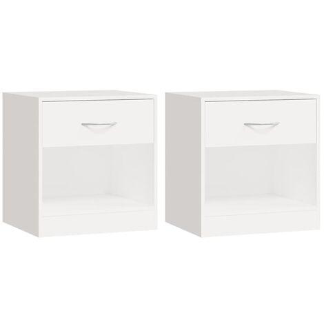 Table de chevet 2 pcs avec tiroir Blanc