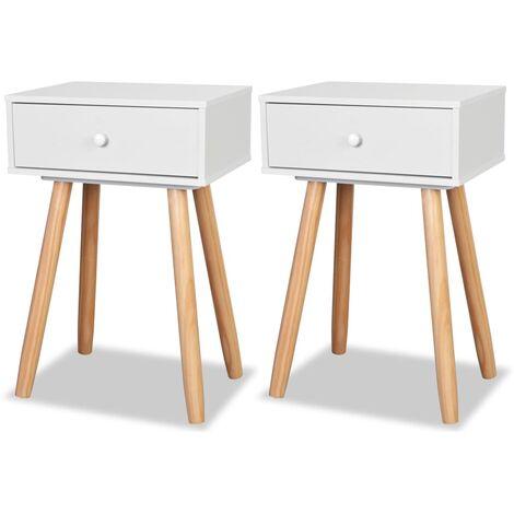 Table de chevet 2 pcs Bois de pin massif 40 x 30 x 61 cm Blanc