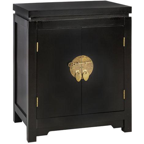 Table de Chevet 2 Portes Noir - Atmosphera