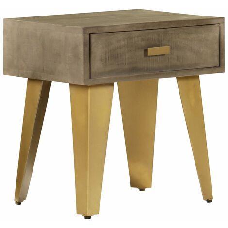 Table de chevet 45x35x48 cm Bois solide de manguier et fonte